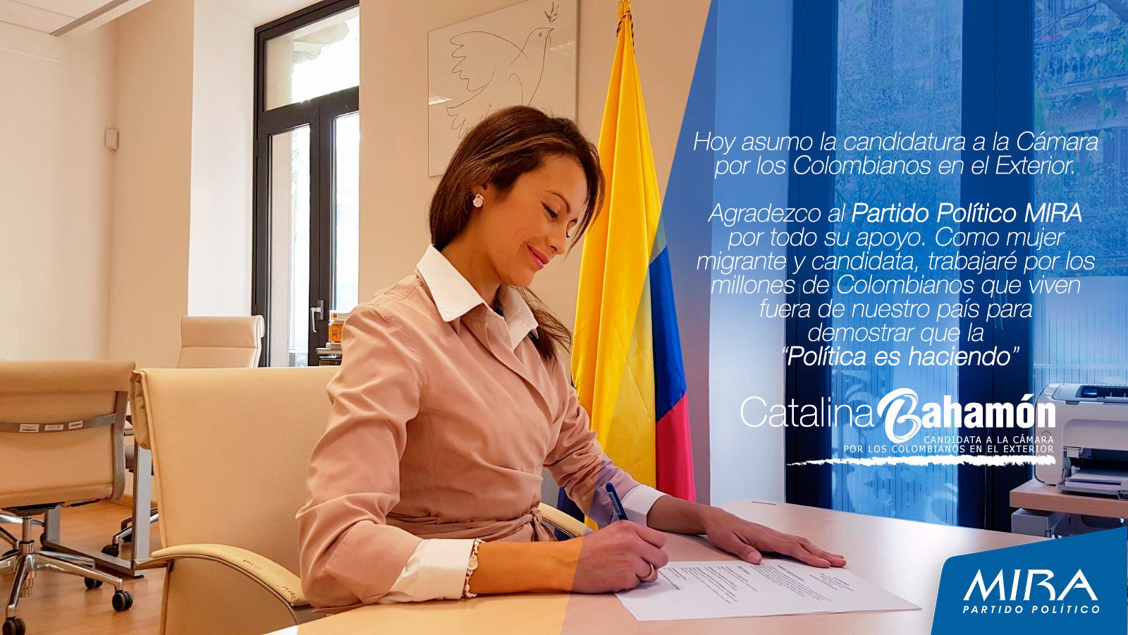 Asumo la candidatura a la Cámara por los #ColombianosEnElExterior  con gran alegría y compromiso como #Mujer #Migrante seguiré demostrando que la #LapoliticaEsHaciendo.Gracias @MovimientoMIRA @Baena  @AnaPaolaAgudelo https://t.co/b4D72rQx0G