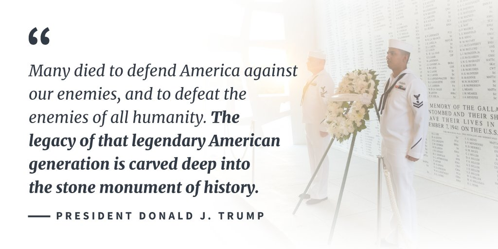 President Trump proclaims December 7, 2017, as National Pearl Harbor Remembrance Day: https://t.co/V3CbZBSwYm https://t.co/ohO2PcXJKQ