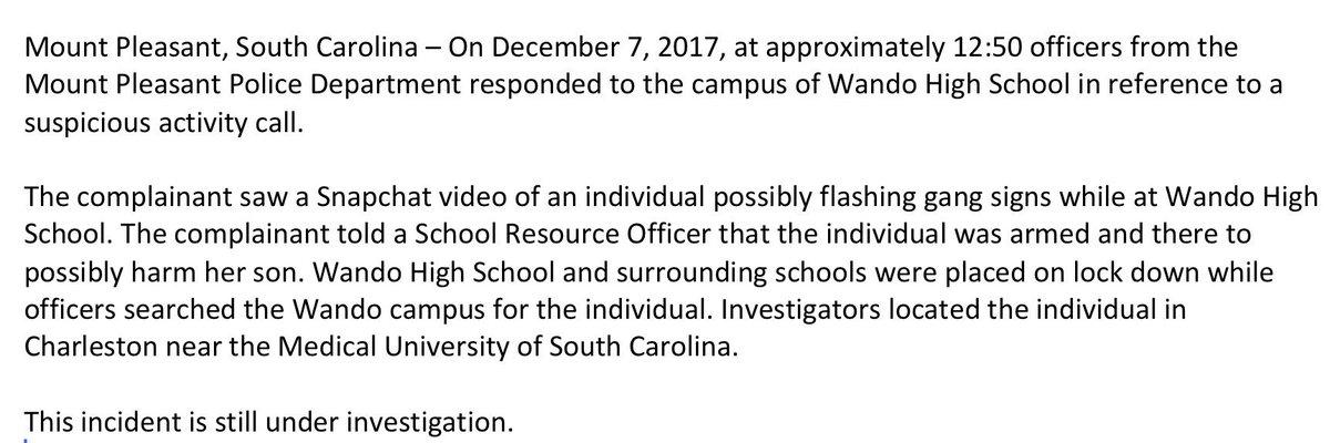 Wando High School is on lock d wando high school