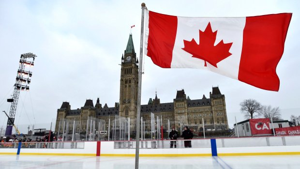 'This is Canada': Skaters glide across Parliament Hill's first ice rink