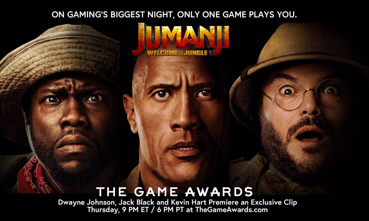Be sure to tune-in to #TheGameAwards tonight at 6pm PT as we bring you a special sneak peek of #JUMANJI. https://t.co/tG6Ld0KJVl