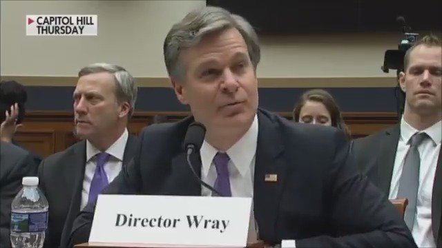 FBI Director Wray: If improper political considerations factored into Hillary Clinton's case we may reopen that door https://t.co/Rc0cvyBWZO