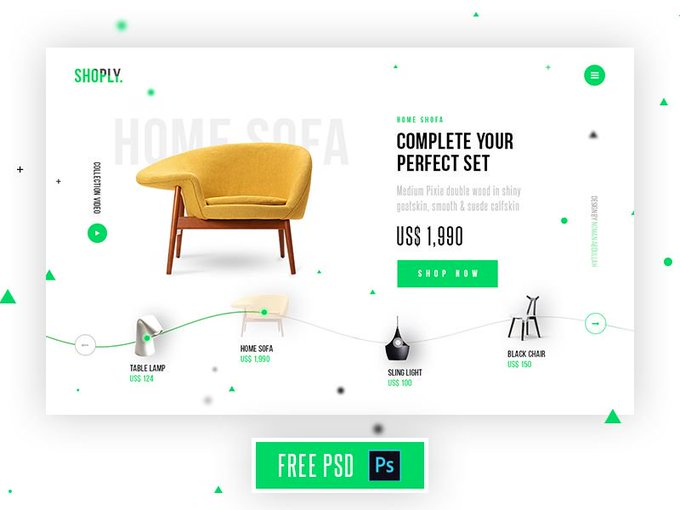 Shoply Homepage by Abdullah Un Noman freebie