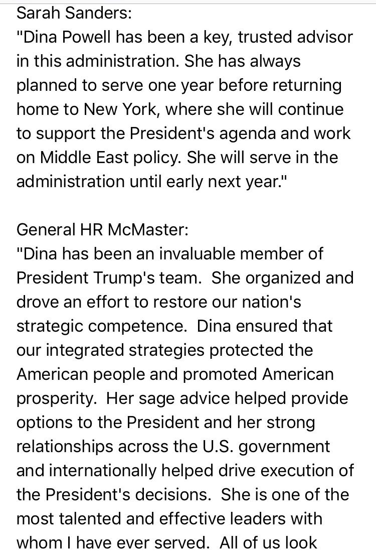 RT @finnygo: NEW: Dina Powell leaving the White House.  Statements by @PressSec & McMaster: https://t.co/RPqS49GRSX
