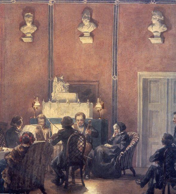 🎭 La casa di Bettina von Arnim, amica delle arti, era frequentata dai #Grimm, #Goethe, #Brentano.. alle sue serate c'era spesso Joachim, grande violinista, amico di #Brahms. In queste atmosfere intime tra amici molta musica cameristica di Brahms fu tenuta a battesimo 🎭 https://t.co/Tp9SgkkgyK