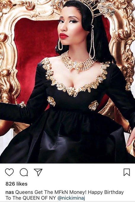 Nas wishes Nicki Minaj a Happy Birthday Happy Birthday to the Queen of NY