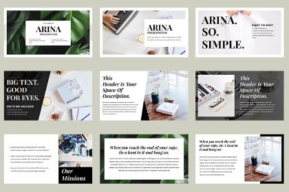 Arina Presentation Template Demo Fonts freebies design SocialMedia