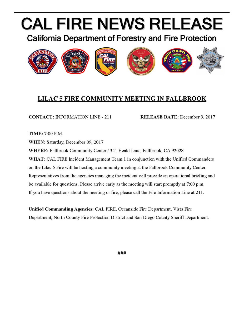 LilacFire A community meeting  fallbrook