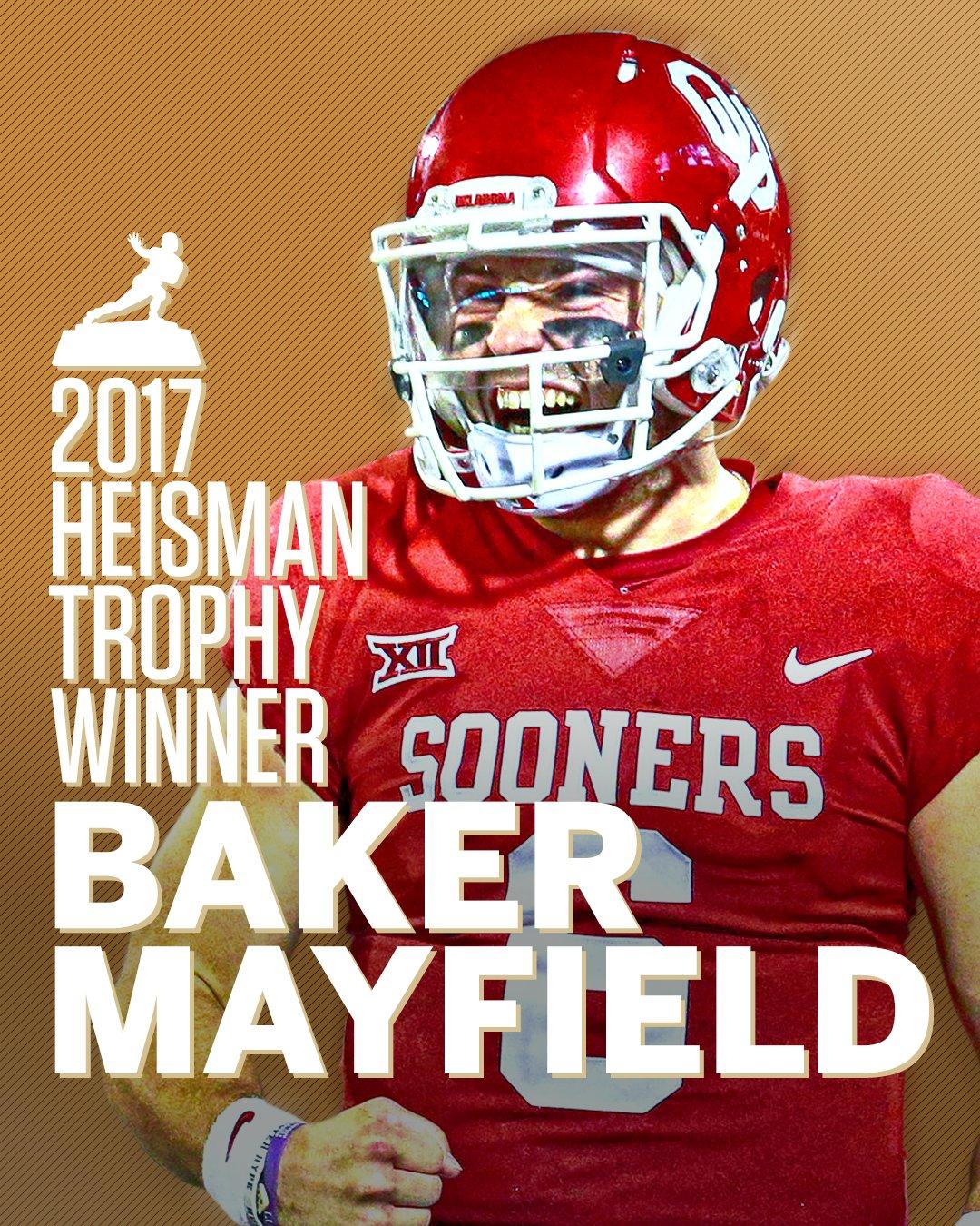 Baker Mayfield's legend is cemented.  The 2017 Heisman Trophy is his! https://t.co/YsBt1XsBrp