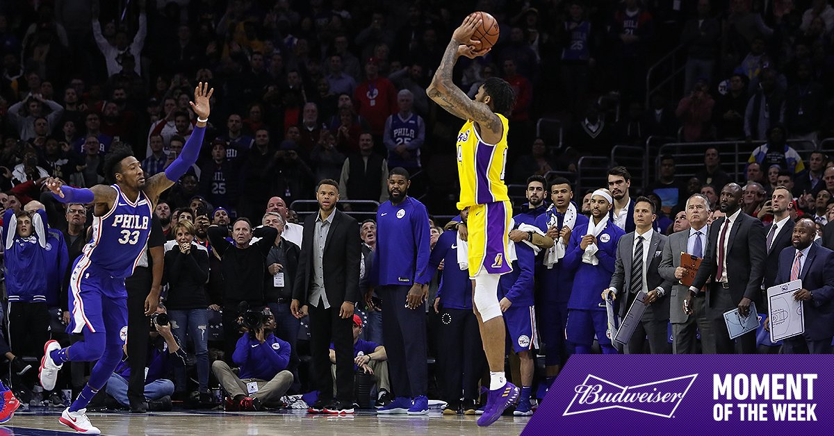 Brandon Ingram dropping the game-winner with .8 to play in Philly is our Moment of the Week, presented by @Budweiser https://t.co/WhJSA75EbY