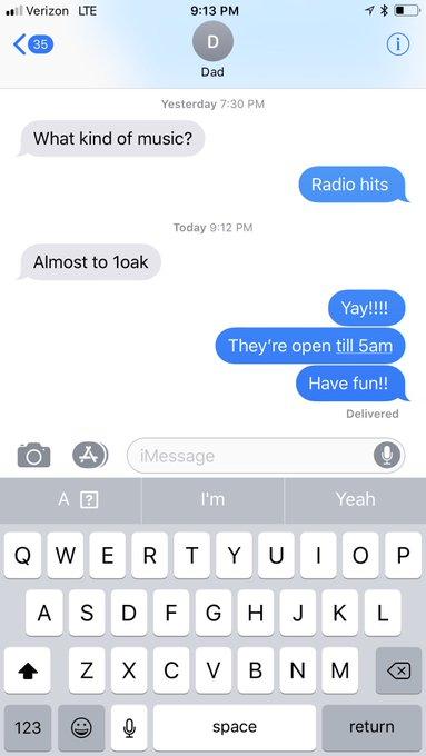 GUYS MY DAD IS GOING TO 1oak lmaoooooo https://t.co/IRVPuCCDem