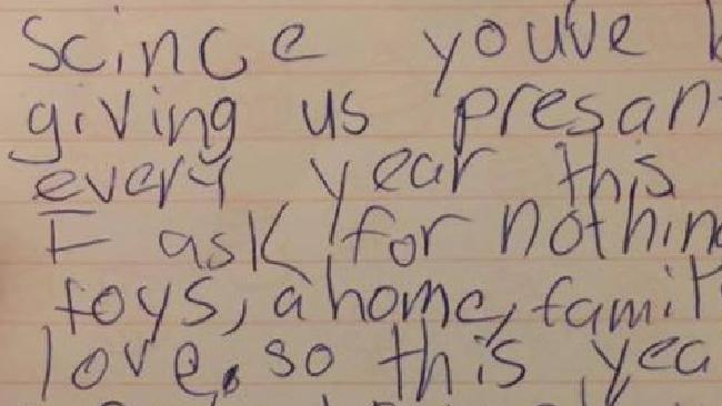 Eight-year-old girl's touching letter to Santa goes viral