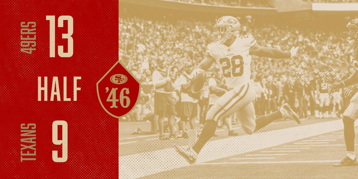 #49ers up at the half! #SFvsHOU https://t.co/qqlOIRDcug