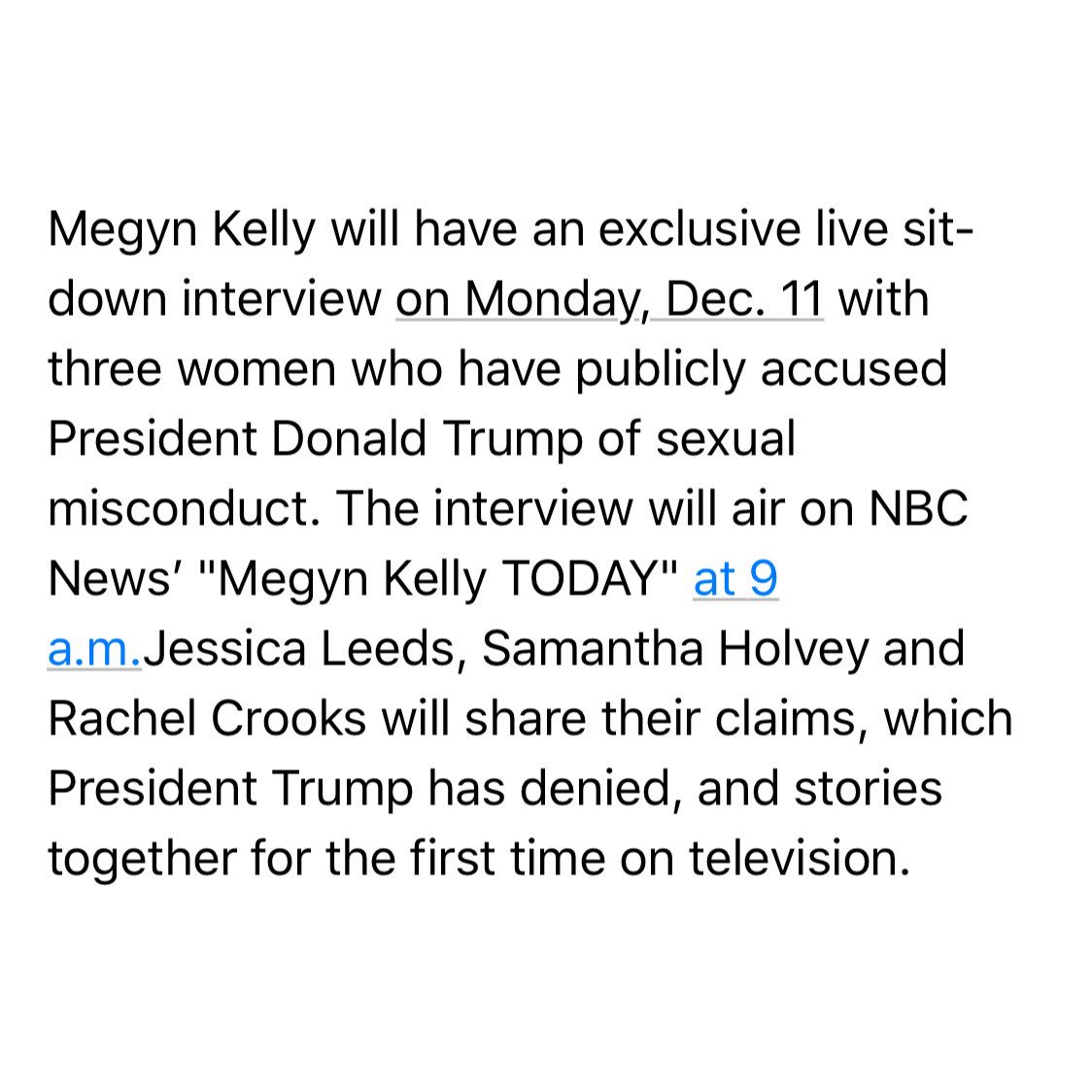 In-Box: @megynkelly will have three Trump accusers as her guests on @MegynTODAY tomorrow morning. https://t.co/znnlYrZXxu