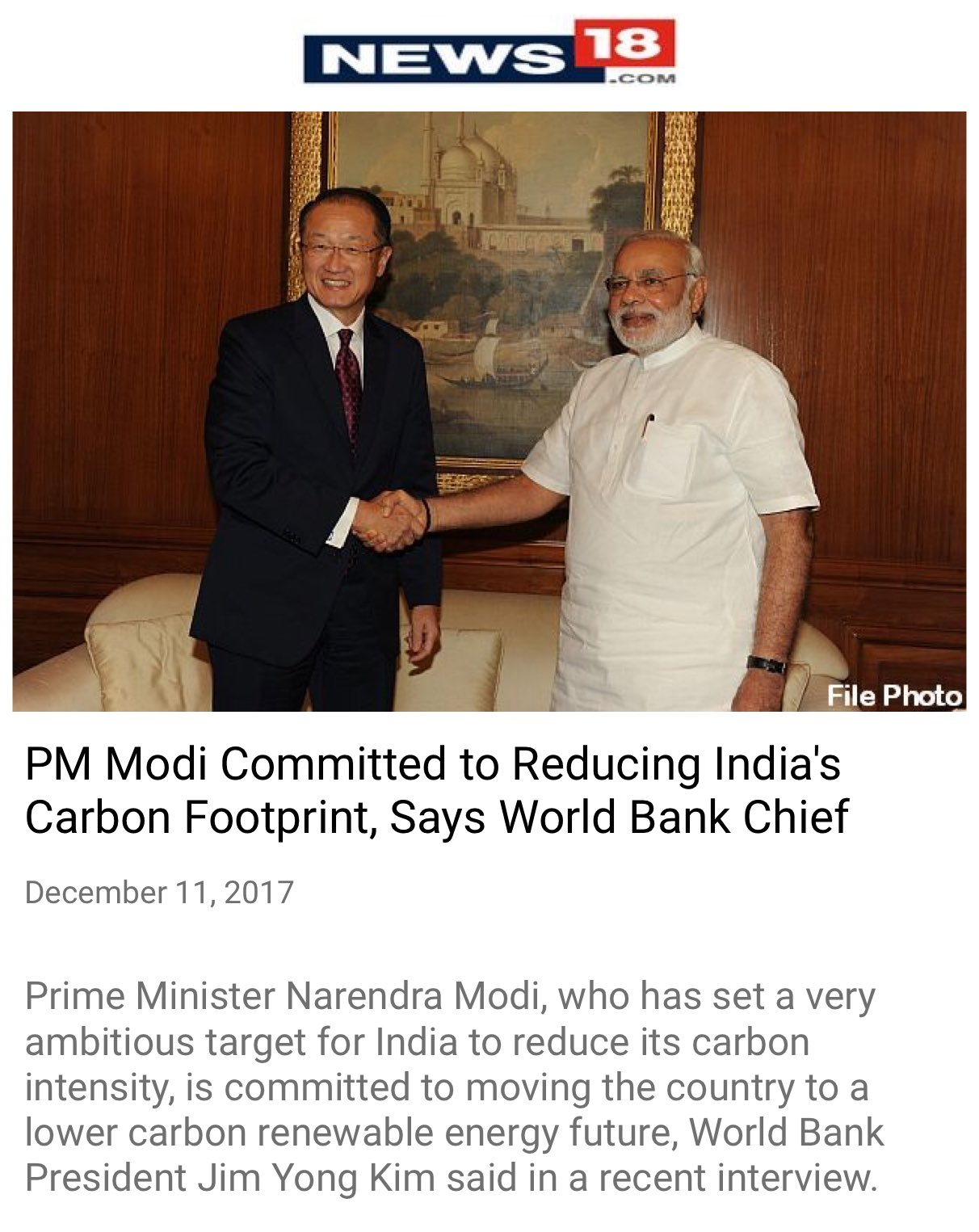 PM Modi committed to reducing India's carbon footprint, says World Bank Chief https://t.co/ZboRN5RckS  via NMApp https://t.co/6rZDr0x3g9