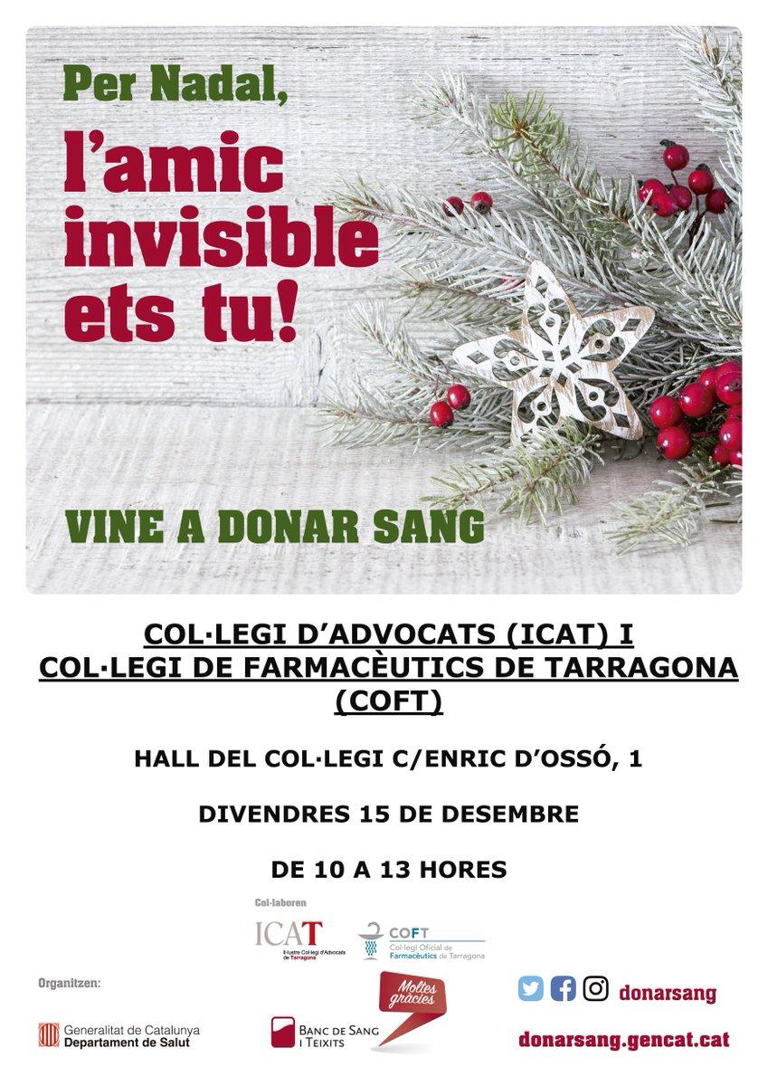 test Twitter Media - Per Nadal , l'amic invisible ets tu! Vine a donar sang divendres 15 de Desembre al Hall del @COFTarragona @ICATTarragona de 10 a 13h. https://t.co/wKJBrSbF86 https://t.co/F9MzEJwgEW