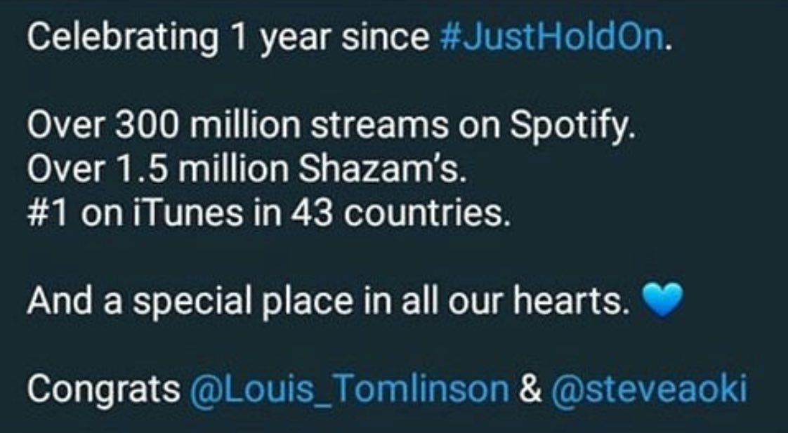 Love all of u who supported us and our song!!!! #justholdon @Louis_Tomlinson https://t.co/PpYXTdnJqL