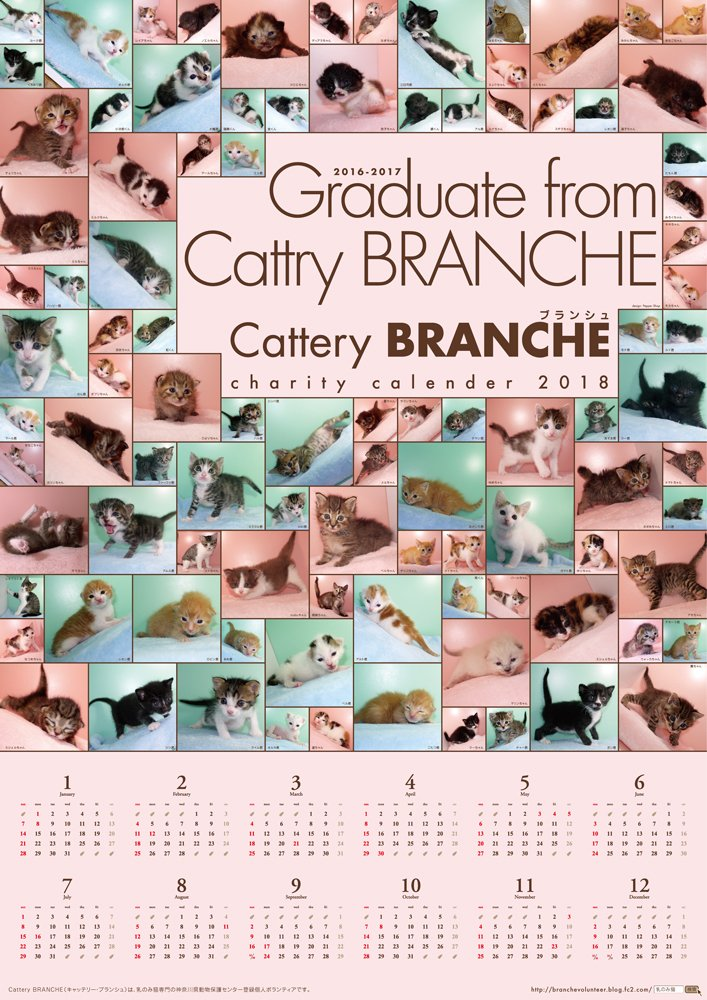 【Cattery BRANCHE】チャリティカレンダー2018「Graduate from Cattery BRANCHE」(ポスター) ⇒...