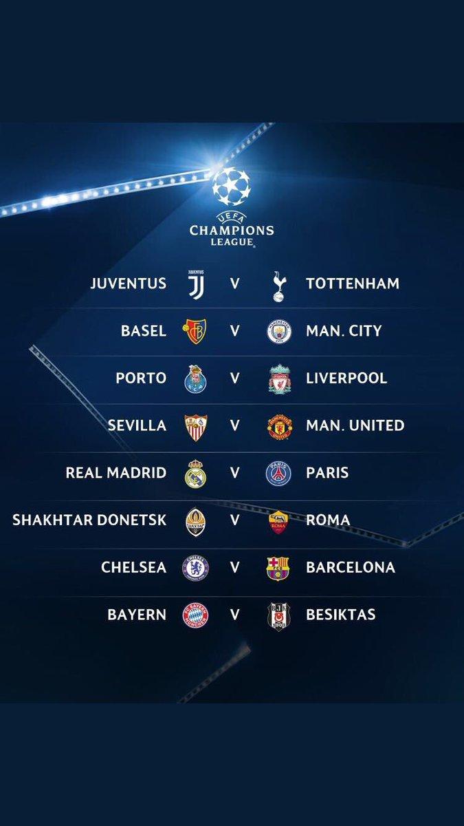 #SorteoUCL Chelsea-Barcelona, Real Madrid-PSG y Juventus-Tottenham son los mejores enfrentamientos de 8vos de final de UCL. https://t.co/mEu6q0LAEd