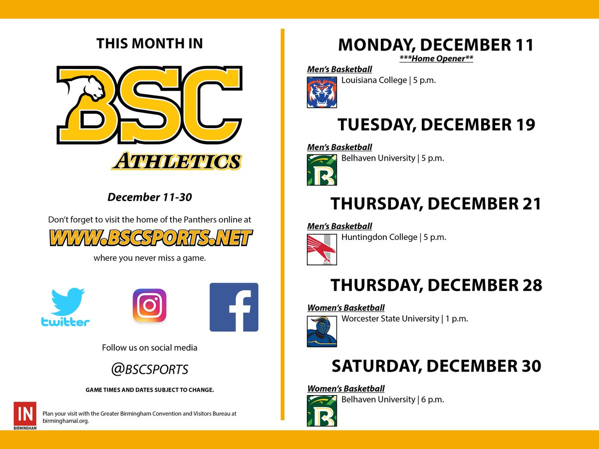 RT @BSCsports: This month in BSC Athletics: @bschoops and Women's Basketball #YeahPanthers @inbirmingham https://t.co/OHdApQNEpT