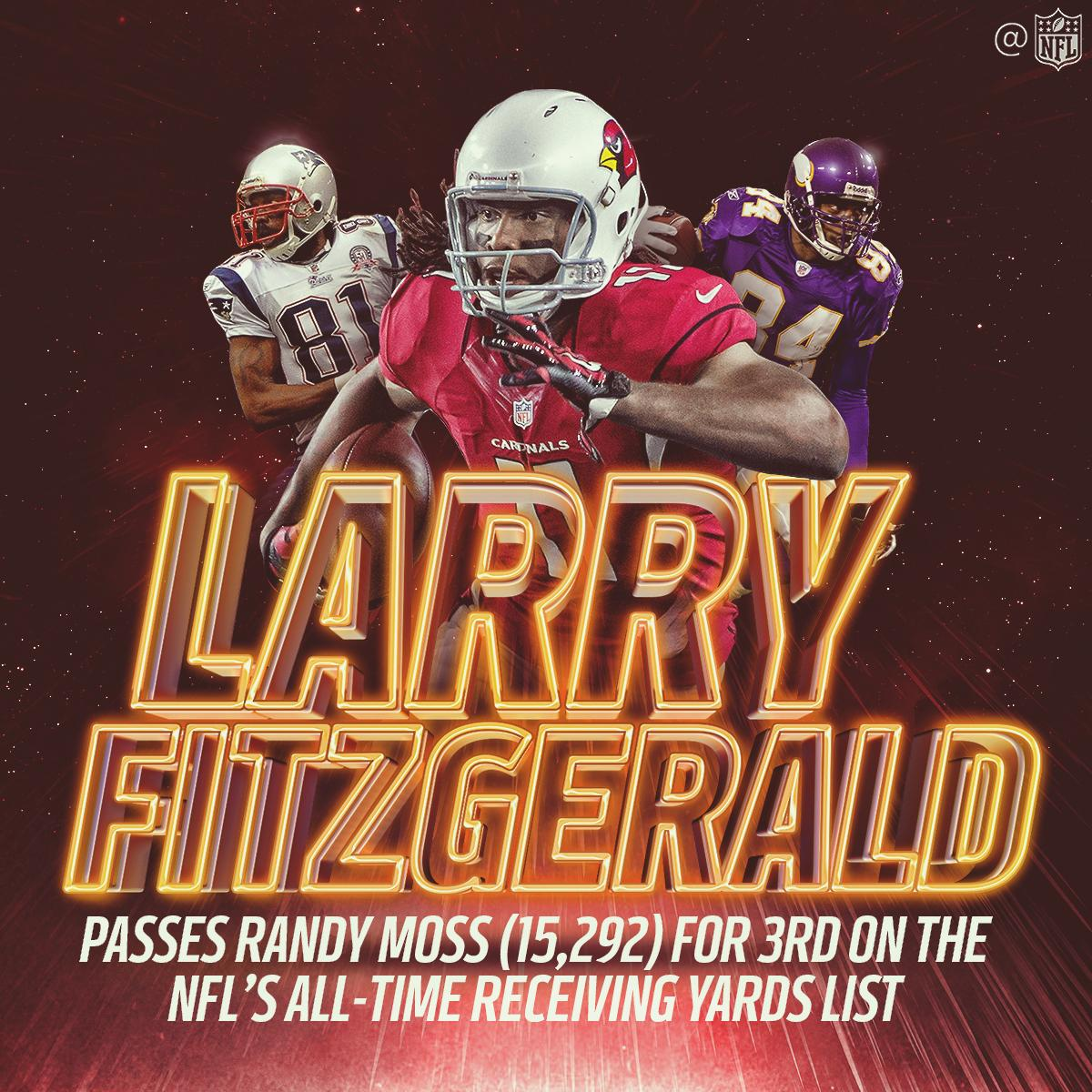 .@LarryFitzgerald: Now 3rd in all-time receiving yards! #BeRedSeeRed https://t.co/U4MHwUZK7r