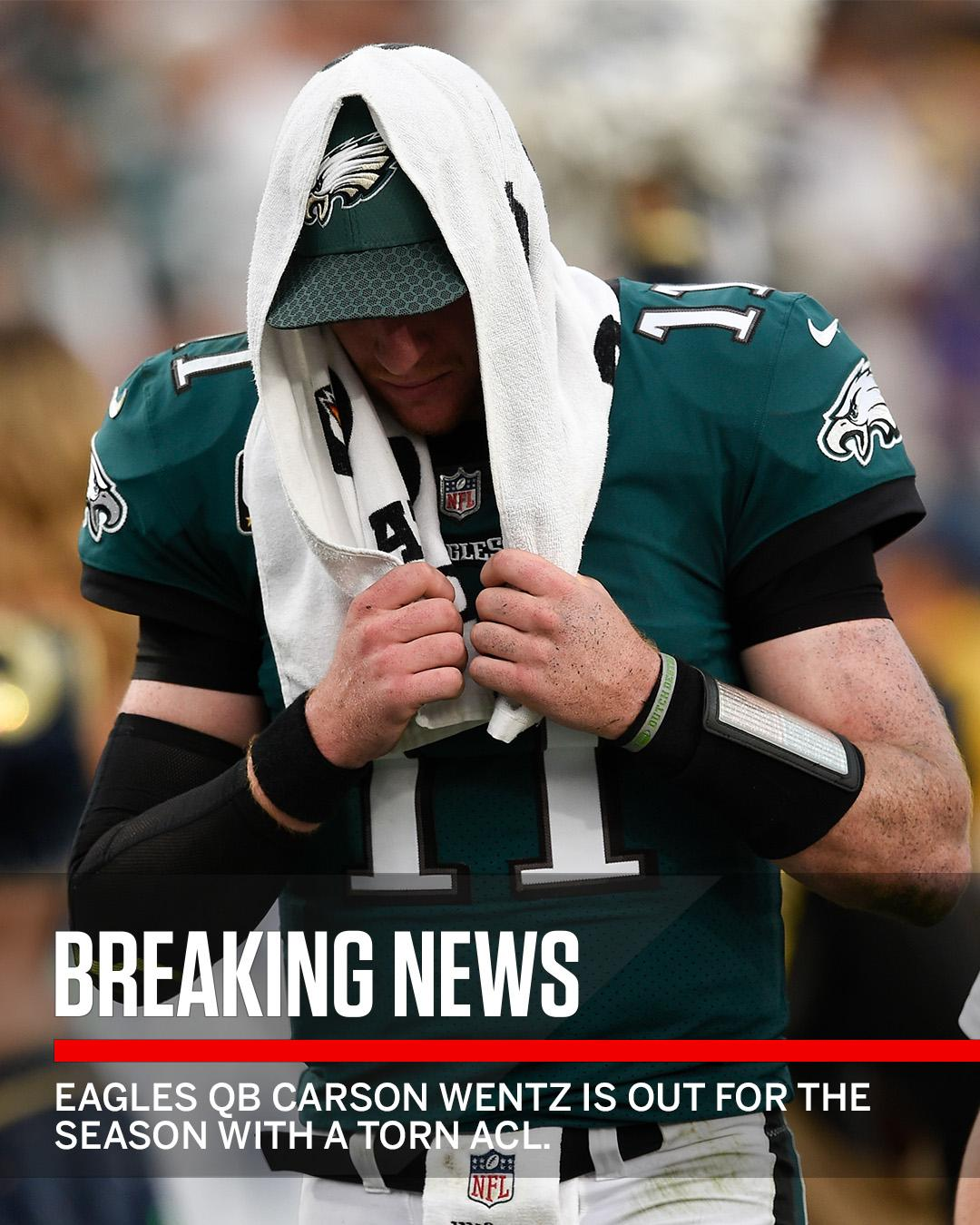 Breaking: The Eagles confirm that Carson Wentz has a torn ACL, ending his season. https://t.co/3MzVxDk0Gy