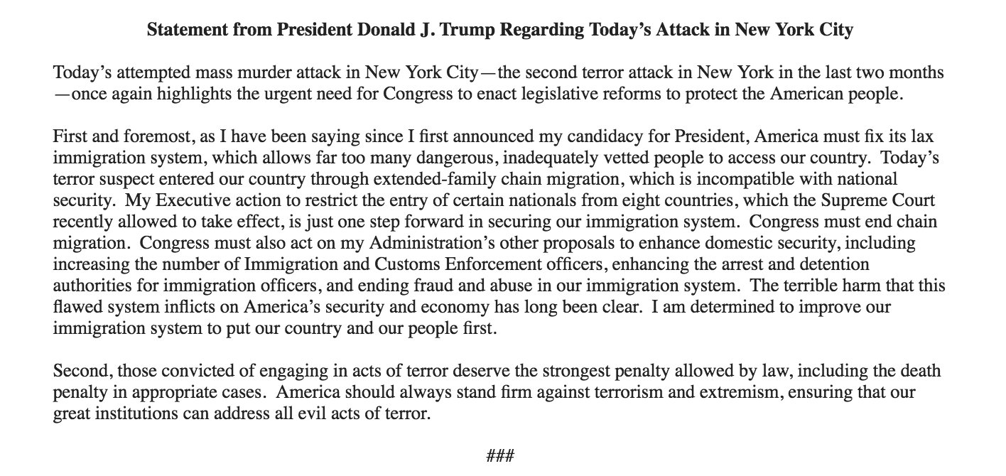 Inbox: Statement from President Donald J. Trump Regarding Today's Attack in New York City https://t.co/wMeURf9RIW