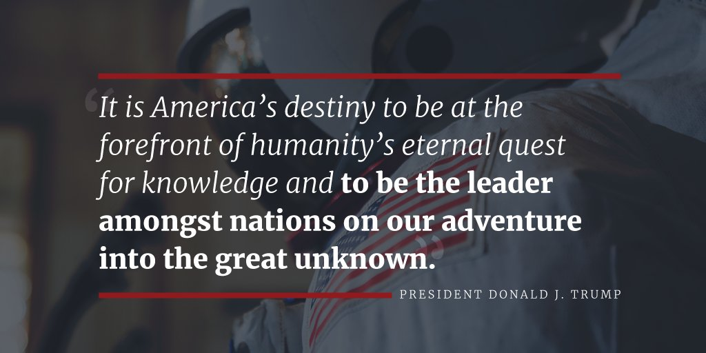 President Trump will make America a leader in space exploration again. Read more: https://t.co/OLVLsXZlTi https://t.co/EiawkRIGES