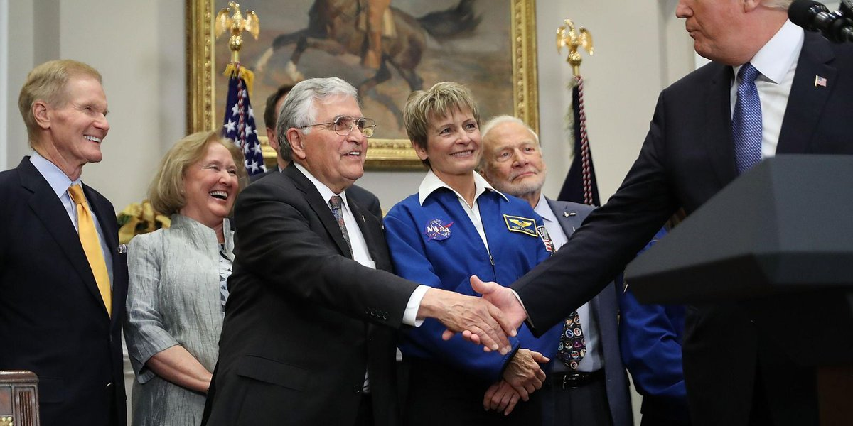 Trump directs NASA to send astronauts to moon, Mars