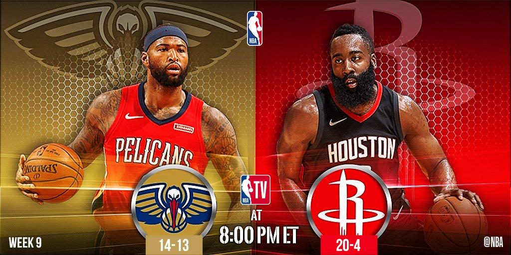 Tonight's @NBATV action features...  8pm/et: @PelicansNBA x @HoustonRockets   10:30pm/et: @Raptors x @LAClippers https://t.co/u0JS0O6fQC
