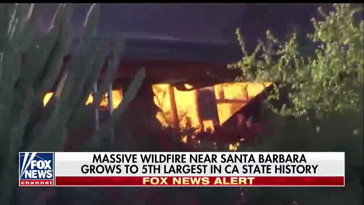 Massive wildfire near Santa Barbara grows to 5th largest in California state history