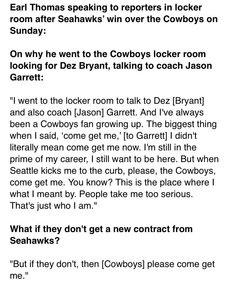 After knocking the #Cowboys out of the playoffs, #Seahawks S Earl Thomas talks about... joining them? Kinda https://t.co/x2iOr5Rc6c
