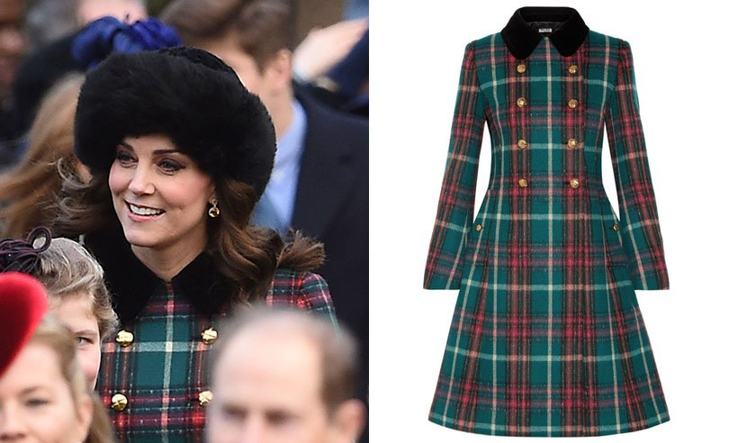 Kate is festive in £2,655 Miu Miu tartan coat at royals' Christmas Day church service: