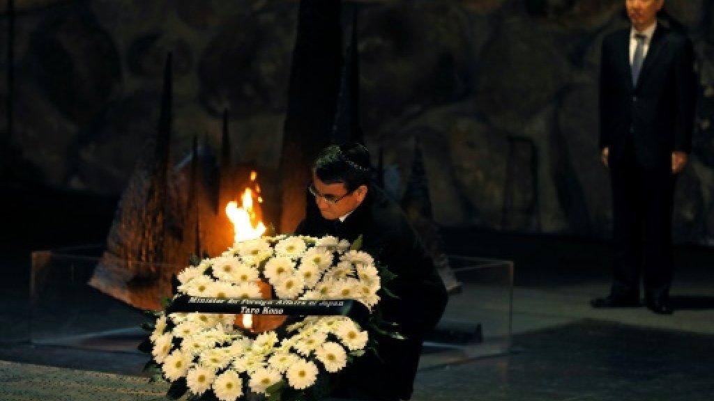 Japan FM lays wreath at Israel holocaust memorial