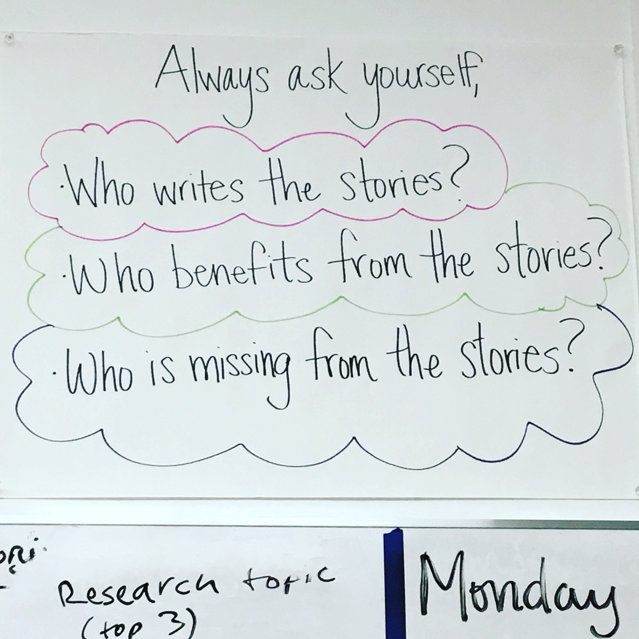 Excellent questions from the wall of my daughter's classroom. https://t.co/ntgKHYG9eU