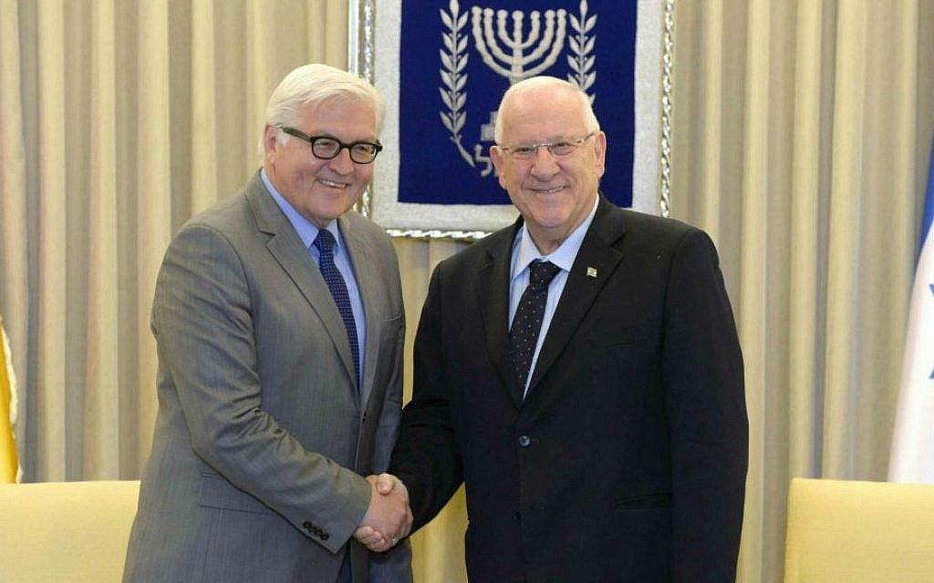 In call with Rivlin, German president condemns anti-Israel protests