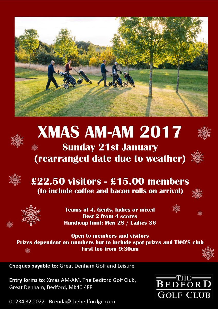 test Twitter Media - Unfortunately due to the weather we had to rearrange our Christmas AMAM which was due to take place on Sunday 10th December.  IT WILL NOW BE TAKING PLACE ON SUNDAY 21ST JANUARY 2018  If you're interested in playing give us a call on 01234 320 022 or email brenda@thebedfordgc.com. https://t.co/0ldAqmppm1