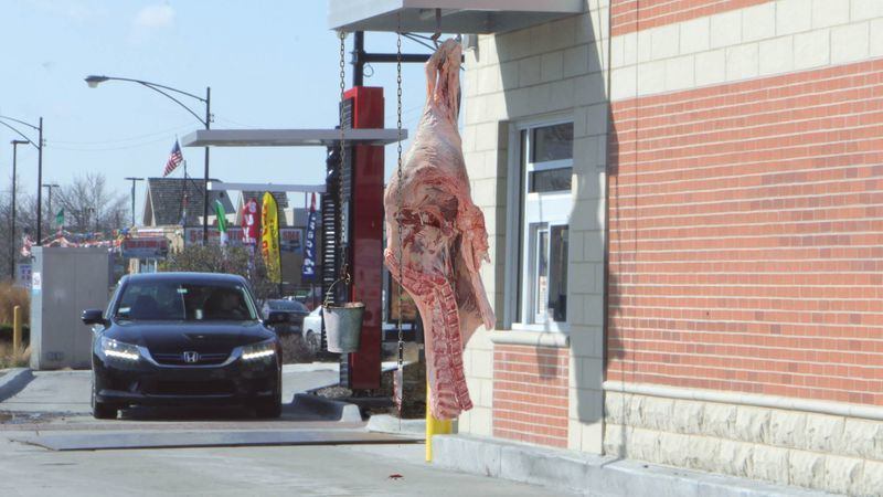 Fast Food Drive-Thru Just Cow Carcass, Bucket For Money https://t.co/svtTYZaed2 https://t.co/eG4d1HoTvx