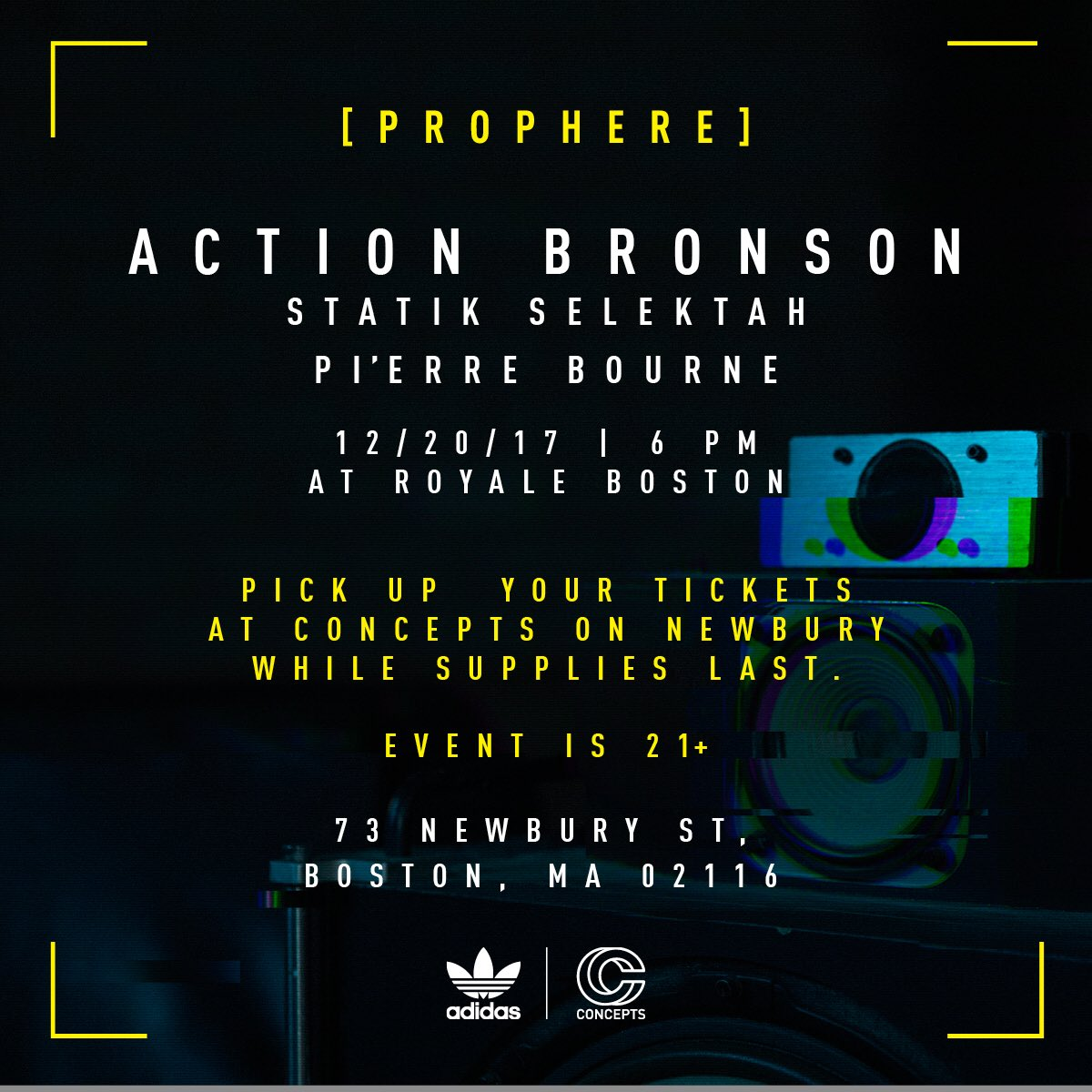 Free show at Royale in Boston on 12/20. Pick up your tickets @cncpts  @adidasoriginals  #Prophere https://t.co/AwSNZzJWaV