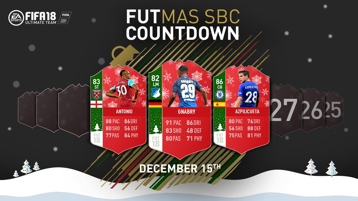 FUTmas Countdown Player SBCs start now! Counting down from 30 with 3 players released each day all the way to Dec 24th. https://t.co/ZF8a4GVT10