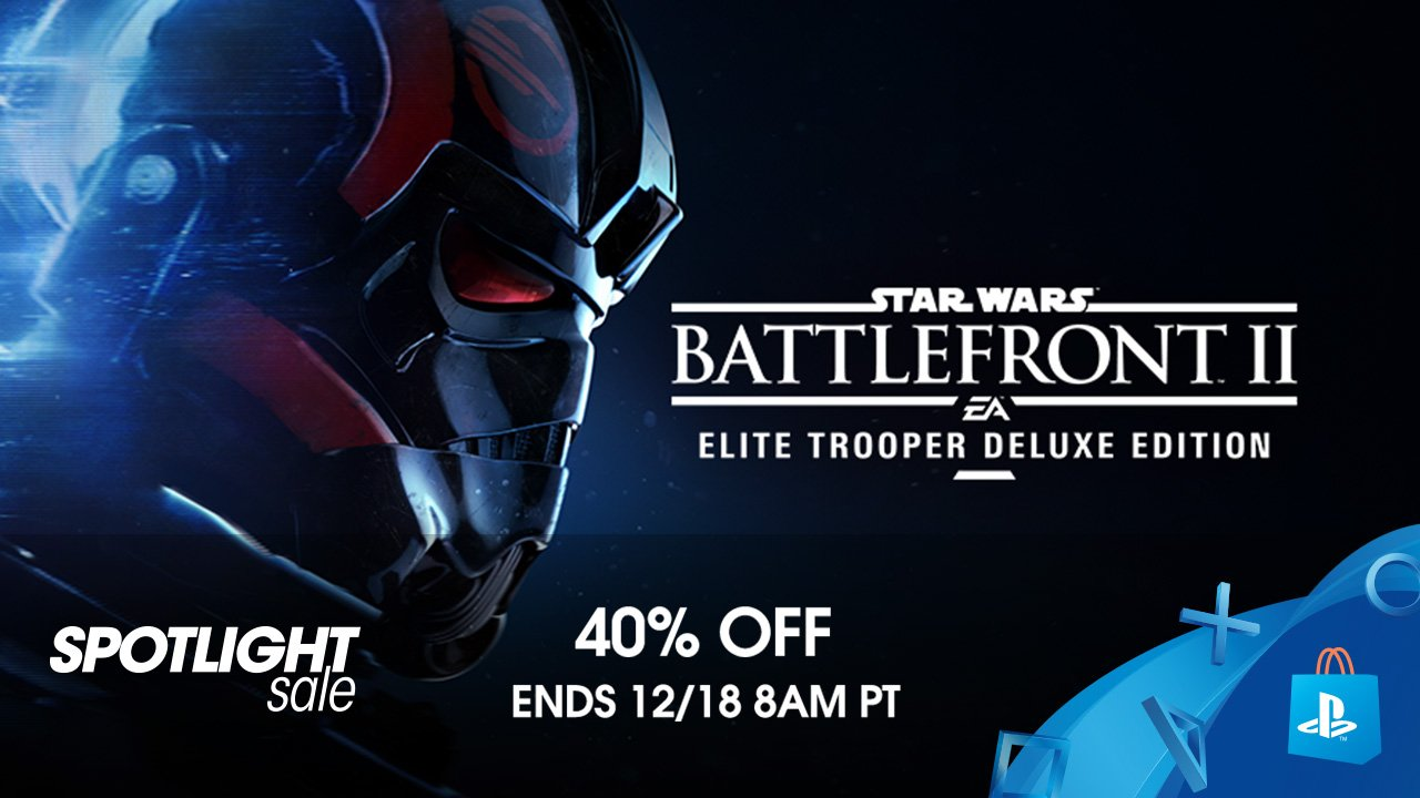 Save 40% on Star Wars Battlefront 2 at PS Store: https://t.co/k5bJNHytGa Just in time for The Last Jedi DLC! https://t.co/zkBPVYiPBo