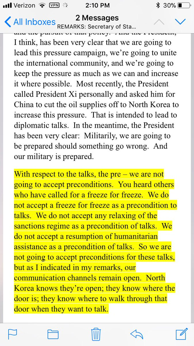 test Twitter Media - See how Tillerson turns meaning of preconditions upside down. Initially, it referred to US dropping its precondition that NK denuclearize https://t.co/r4f1sWgSVJ