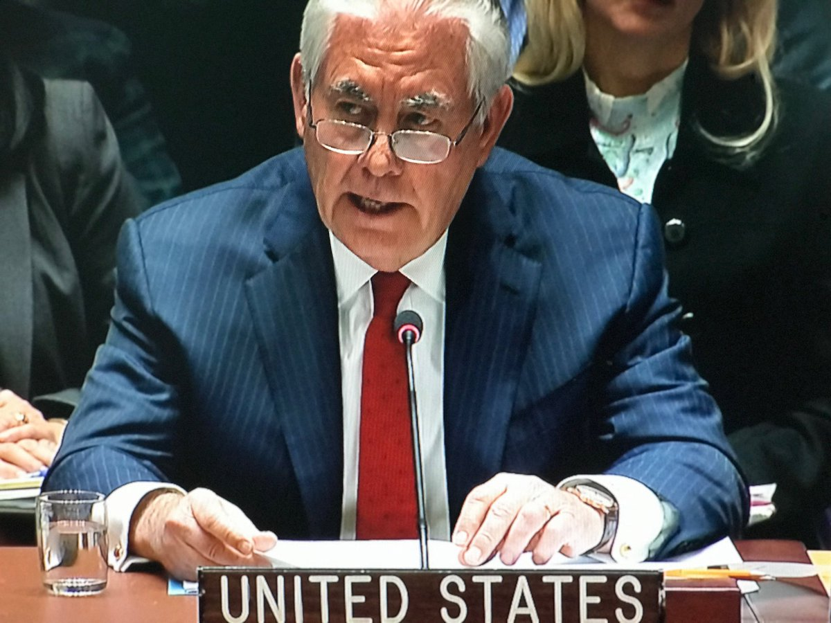 "test Twitter Media - ""A sustained cessation of North Korea's threatening behavior must occur before talks can begin. North Korea must earn its way back to the table ... we will in the meantime keep our channels of communication open"" ~ Rex Tillerson speaking a few feet from DPRK envoy @UN Sec Council https://t.co/rHt6hsnFxc"