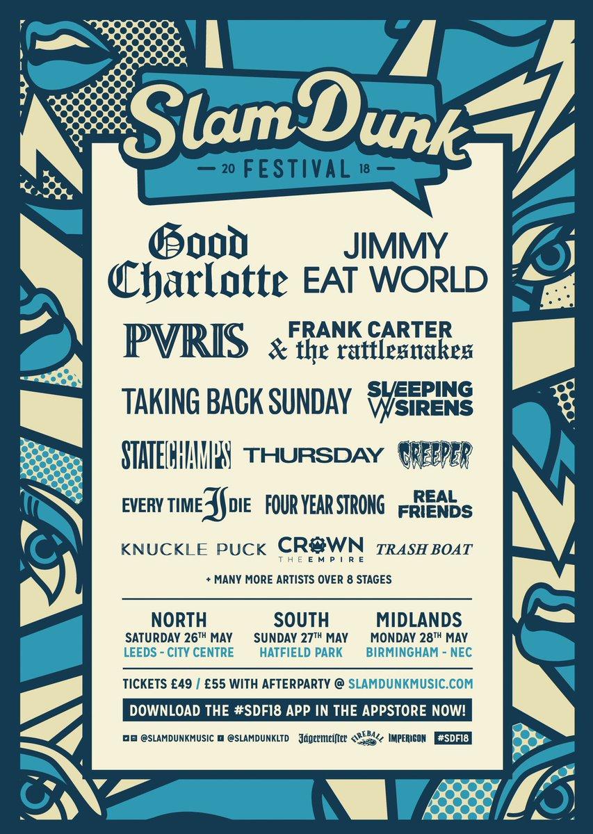 RT @eventim_uk: .@GoodCharlotte join the lineup for @SlamDunkMusic Grab your tickets here:  https://t.co/8admS97yeJ https://t.co/fV6Et4buQb