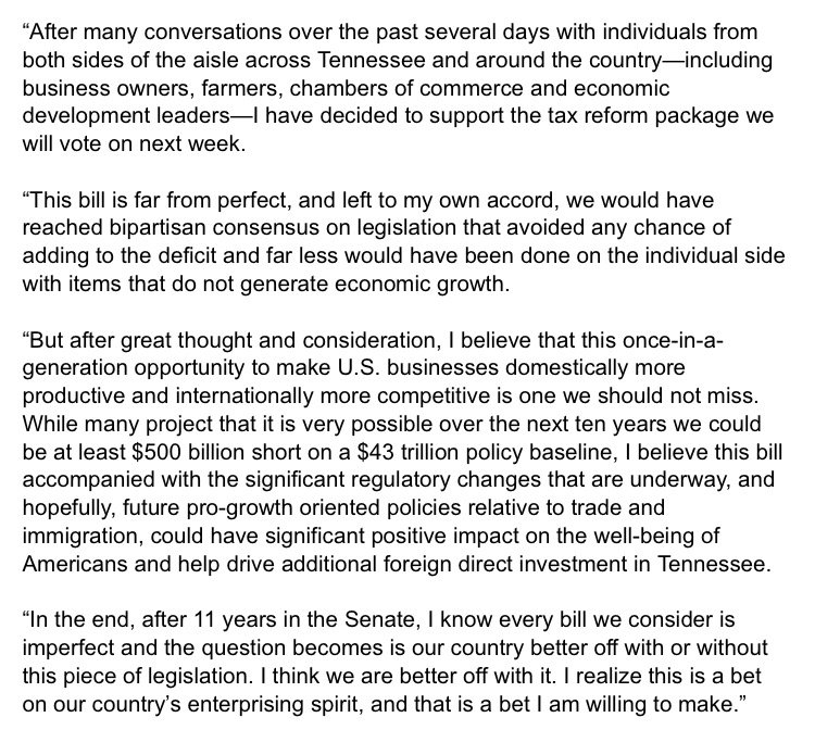 RT @SenBobCorker: See my statement on my support for tax reform legislation: https://t.co/DoeoHLrXWn