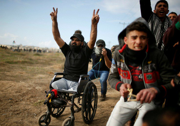 A man in a wheelchair was killed while protesting Donald Trump's Israel policy