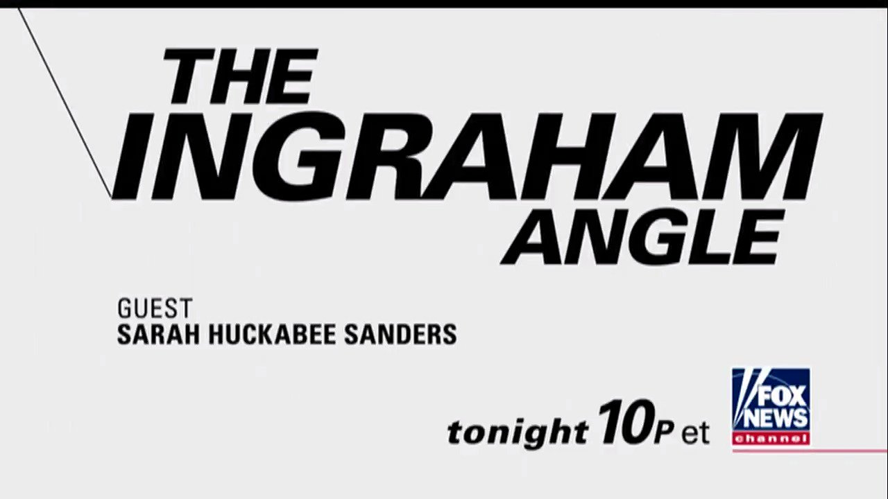TONIGHT: @PressSec Sarah Sanders joins @IngrahamAngle at 10p ET on Fox News Channel! https://t.co/xpbmlfJ8yR