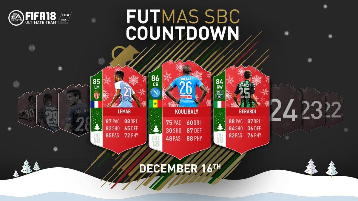 FUTmas Countdown SBCs continue, 3 new players available now!  27 - Lemar 26 - Koulibaly 25 - Berardi https://t.co/G9P1SamVbJ