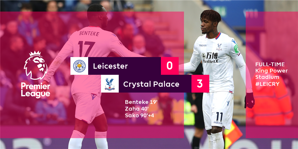 Crystal Palace leap out of the bottom three as 10-man Leicester's fine run of form comes to an end  #LEICRY https://t.co/J6IRGKNCvV