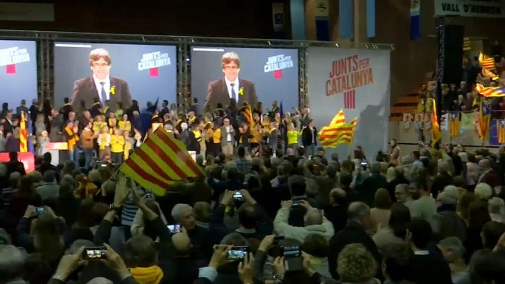 Catalonia election: Puigdemont addresses separatist supports via satel